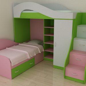 Детски легла на два етажа D-001