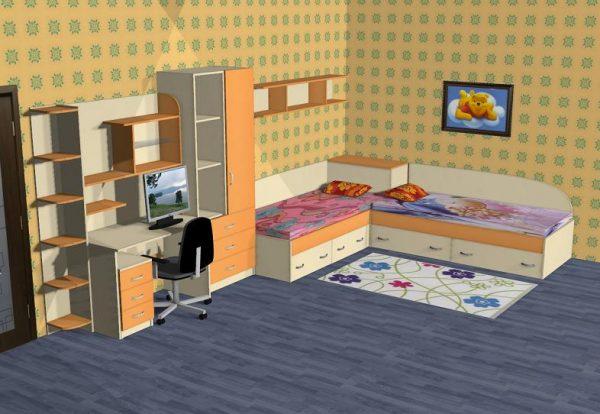 Детска стая с ъглови лега и детска секция D-006