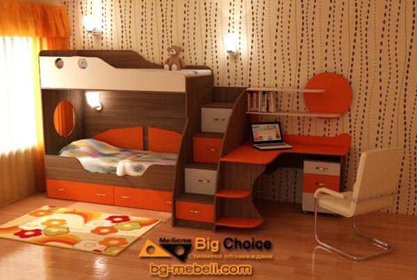 Детско двуетажно легло с ъглово бюро D-005