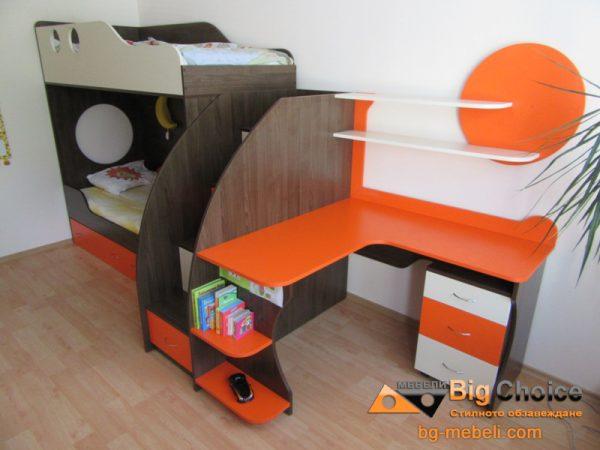 Двуетажно легло с ъглово бюро D-005