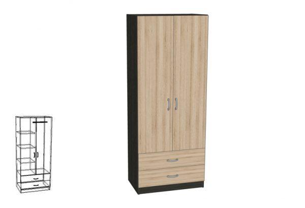 Двукрилен гардероб с две чекмеджета GR-12